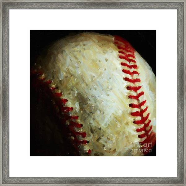 Framed Print featuring the photograph All American Pastime - Baseball - Square - Painterly by Wingsdomain Art and Photography
