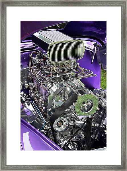 Framed Print featuring the photograph All Chromed Engine With Blower by Bob Slitzan