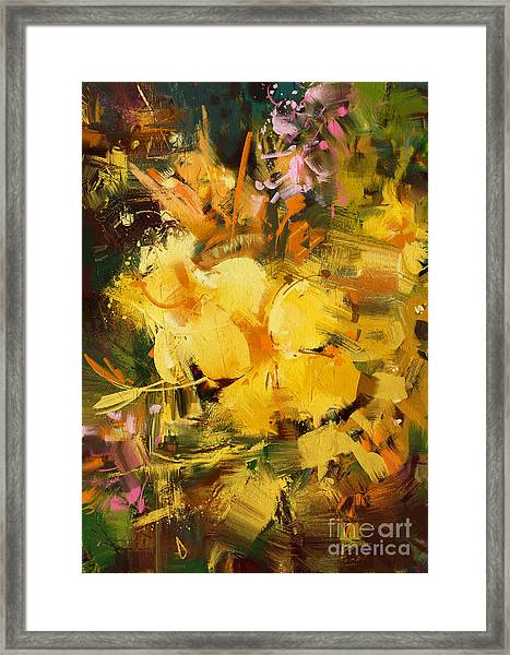Framed Print featuring the painting Allamanda by Tithi Luadthong