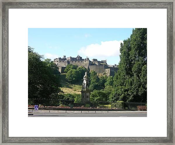 Allan Ramsay Statue And Edinburgh Castle Framed Print