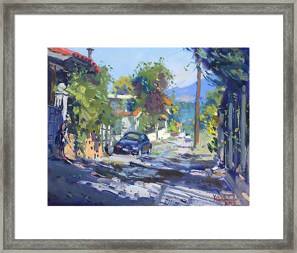 Alleyway By Lida's House Greece Framed Print
