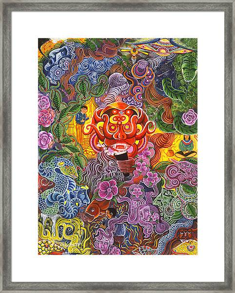 Framed Print featuring the painting Allpa Manchari by Pablo Amaringo