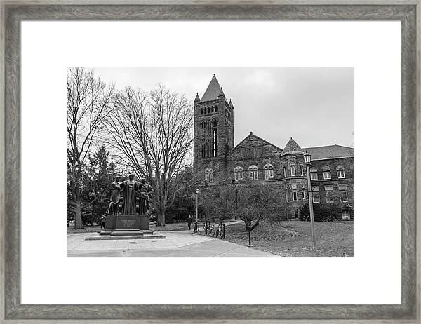 Alma Mater And Law Library University Of Illinois  Framed Print