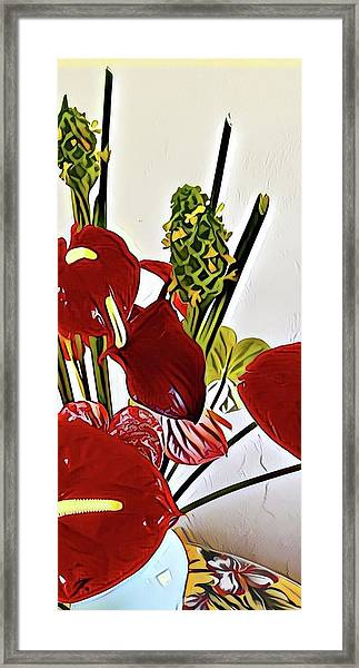 Aloha Bouquet Of The Day - Anthuriums In Darkl Red With Green Ginger - A Portion Framed Print