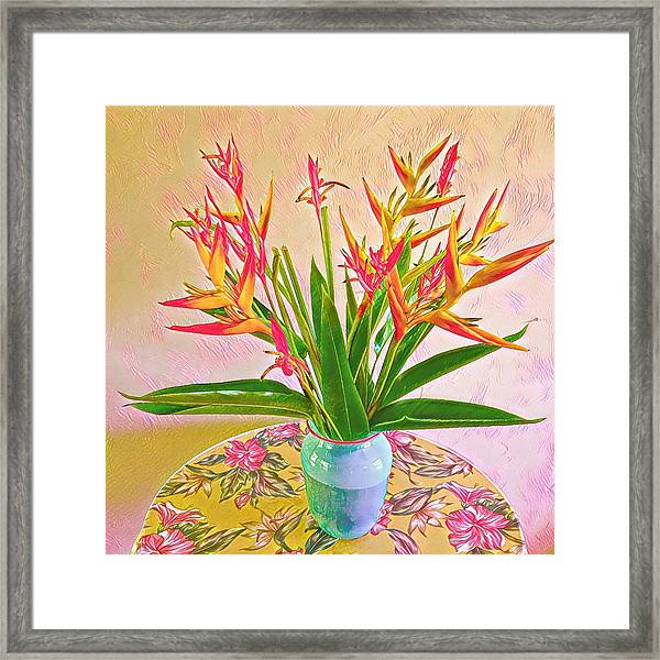 Aloha Bouquet Of The Day Halyconia And Birds In Pink Framed Print
