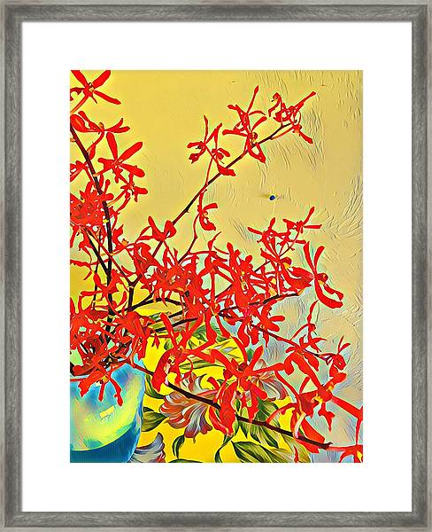 Aloha Bouquet Of The Day -- Red Orchids In Blue Vse Framed Print