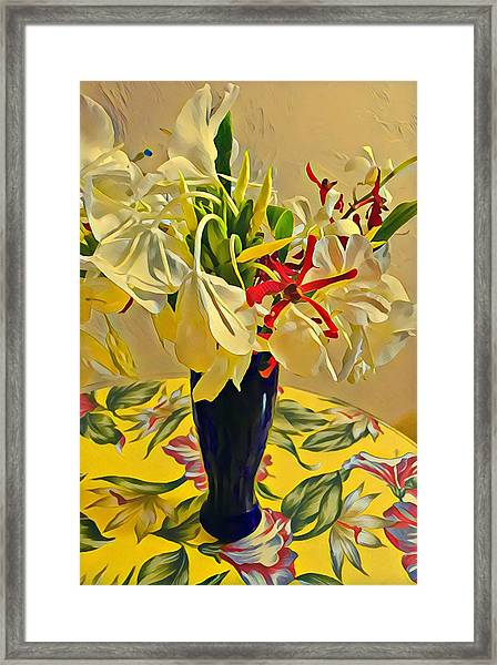 Aloha Bouquet Of The Day - White Gingert With Red Orchids - A New Hue Framed Print
