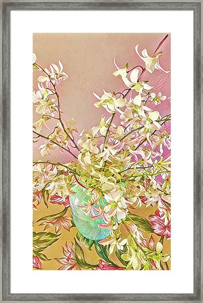 Aloha Bouquet Of The Day - White Orchids In Pink Framed Print