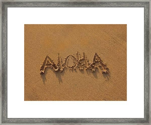 Aloha In The Sand Framed Print