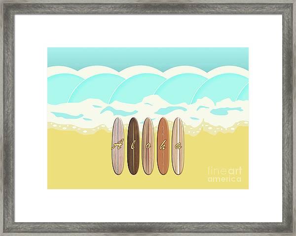 Aloha Surf Wave Beach Framed Print