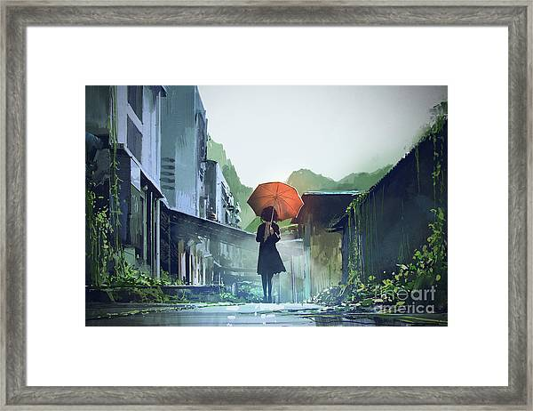 Framed Print featuring the painting Alone In The Abandoned Town by Tithi Luadthong