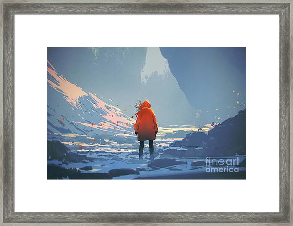 Framed Print featuring the painting Alone In Winter by Tithi Luadthong