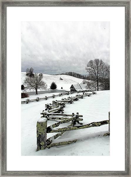 Along The Locust Rails In Winter Framed Print