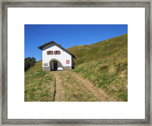 Along The Path Towards The Summit Of The Mountain Framed Print