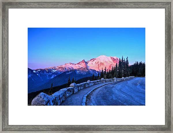 Alpenglow At Mt. Rainier Framed Print