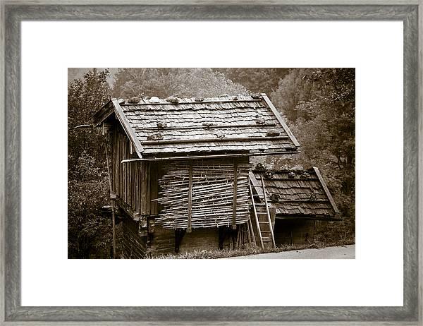Alpine Hut Framed Print by Frank Tschakert