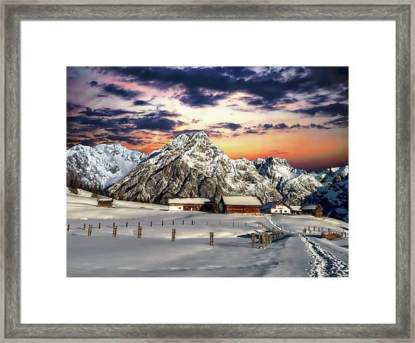 Alpine Winter Scene Framed Print