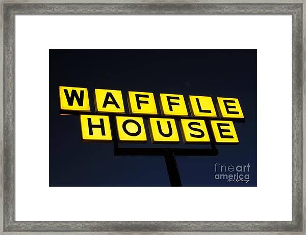 Always Open Waffle House Classic Signage Art  Framed Print