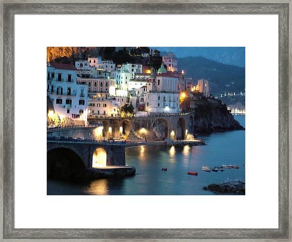 Amalfi Coast At Night Framed Print