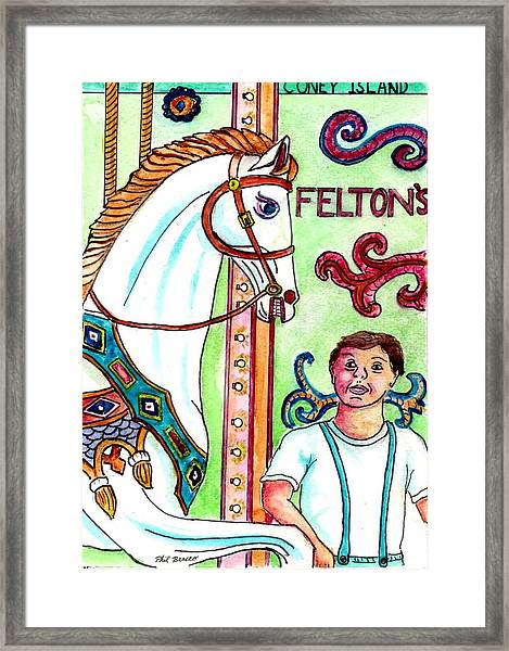 Amazed At The Merry-go-round At Feltons In Coney Island Framed Print