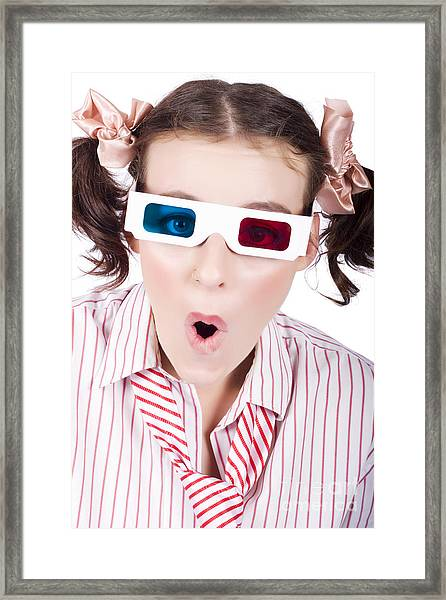 Amazed Woman Watching 3d Movie In Glasses Framed Print