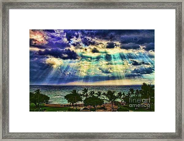 Amazing Grace - Sun Rays Before Sunset By Diana Sainz Framed Print