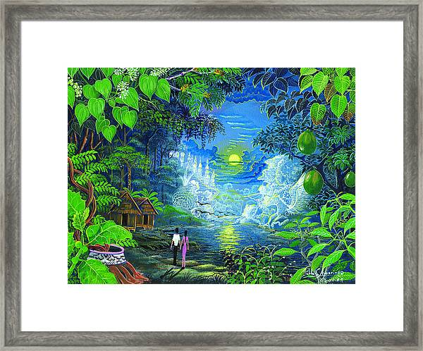 Framed Print featuring the painting Amazonica Romantica by Pablo Amaringo