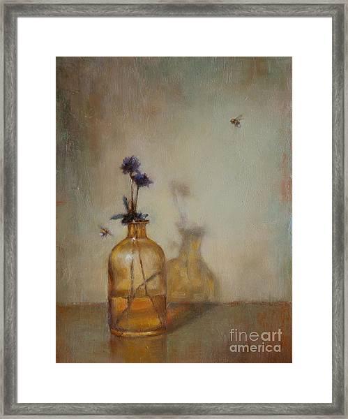 Amber Bottle And Bees  Framed Print