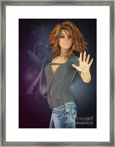 Amelie In Jeans Framed Print