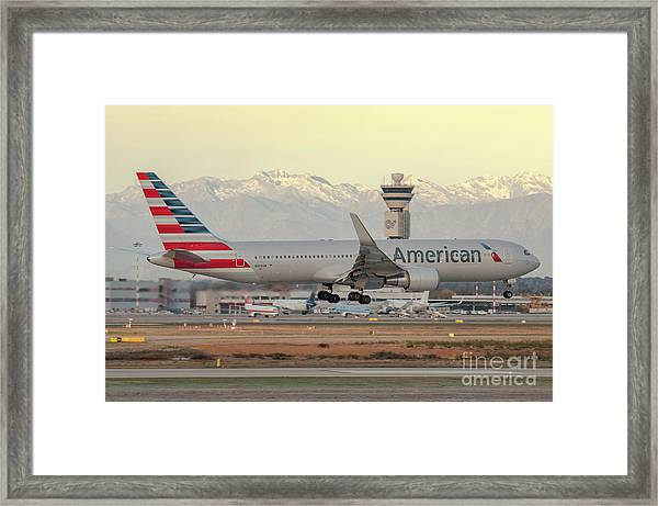 American Airline Boeing B767 Landing At Milano Malpensa Airport Framed Print