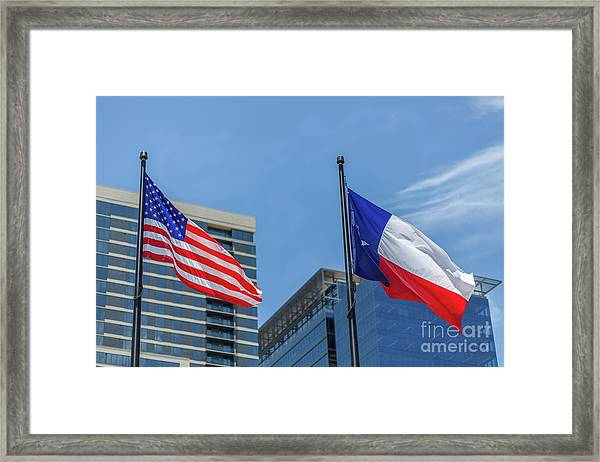 American And Texas Flag On Top Of The Pole Framed Print