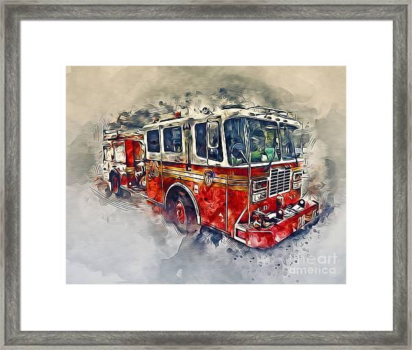 American Fire Truck Framed Print