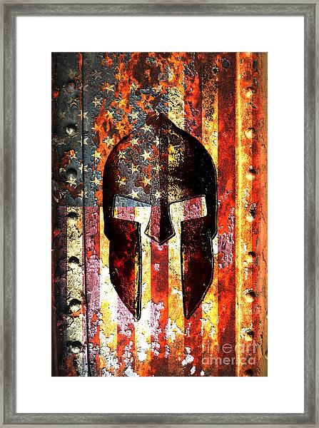 American Flag And Spartan Helmet On Rusted Metal Door - Molon Labe Framed Print