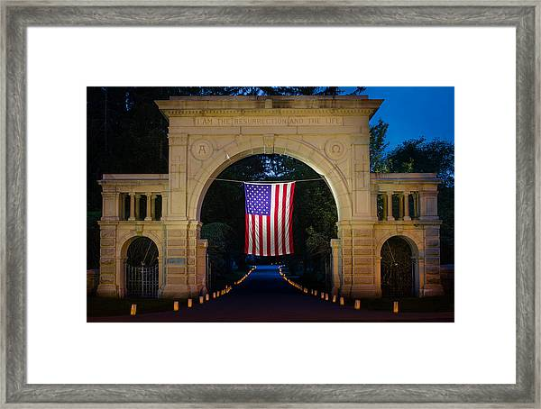 American Flag At Cemetery Gates - Mystic Ct Framed Print