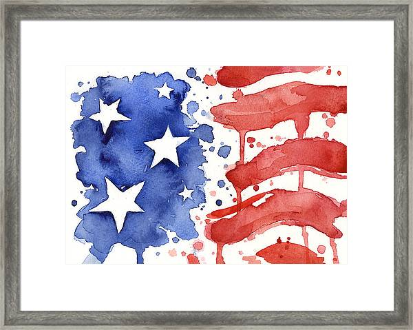 American Flag Watercolor Painting Framed Print