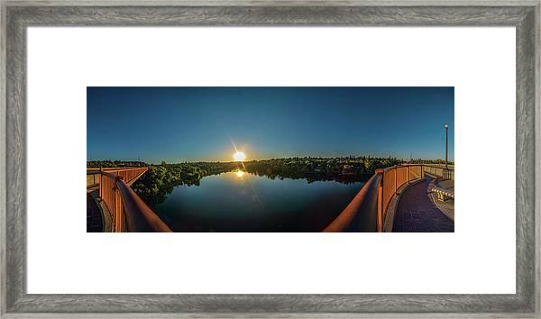American River At Sunrise - Panorama Framed Print