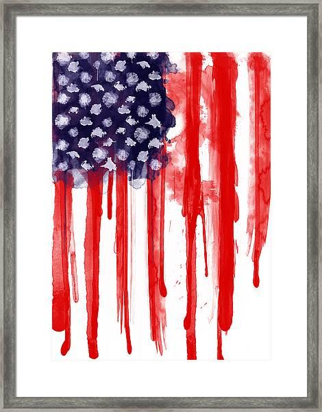 American Spatter Flag Framed Print