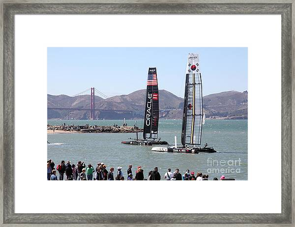 Framed Print featuring the photograph America's Cup Racing Sailboats In The San Francisco Bay - 5d18253 by Wingsdomain Art and Photography
