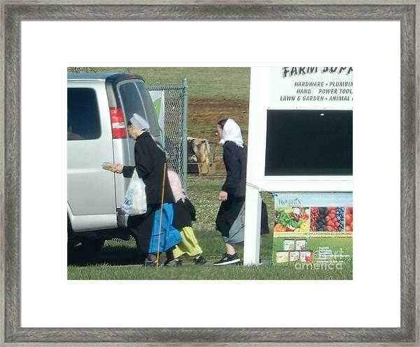 Amish Auction Framed Print