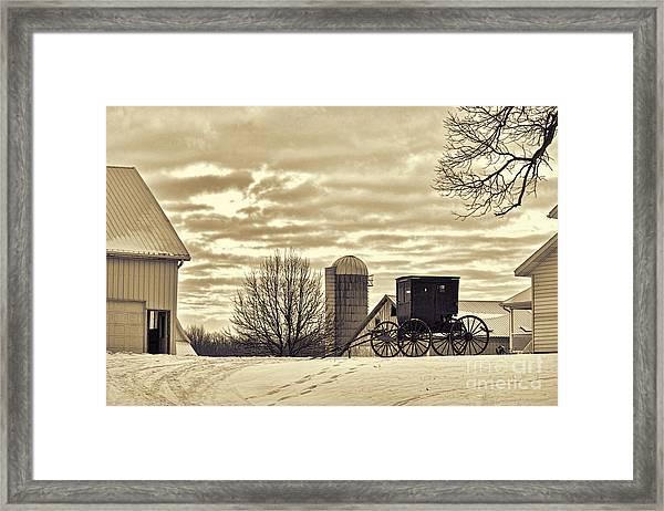 Amish Buggy At Morning Sepia Framed Print