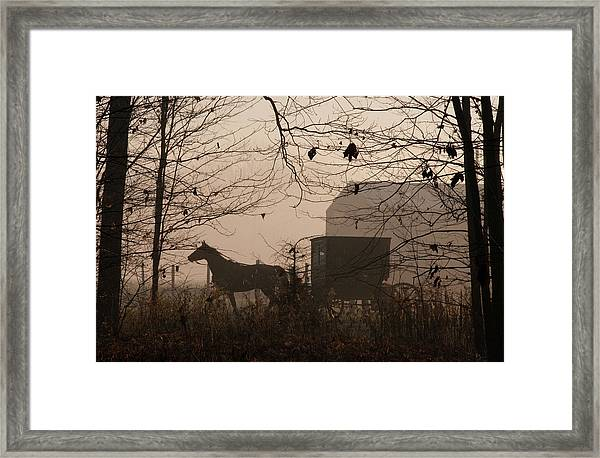 Amish Buggy Fall Framed Print
