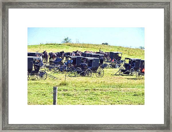 Amish Hillside Framed Print