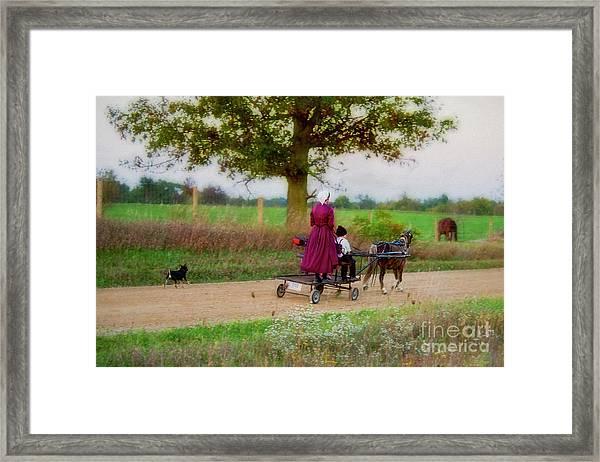 Amish Kids On Pony Cart Framed Print