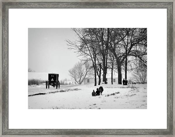 Amish Sled Ride Framed Print