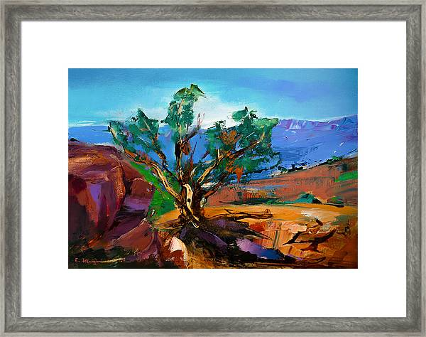 Framed Print featuring the painting Among The Red Rocks - Sedona by Elise Palmigiani