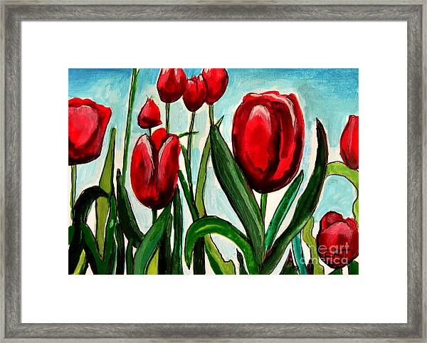Among The Tulips Framed Print