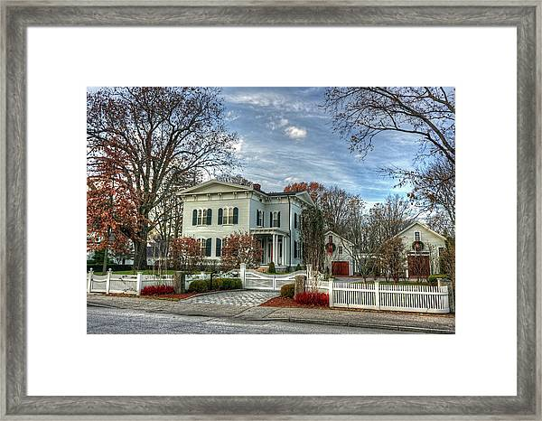 Amos Tuck House In Late Autumn Framed Print