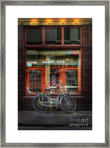 Amstel Bier Bicycle Framed Print