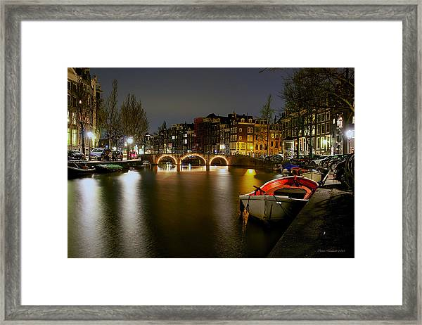 Amsterdam At Night Framed Print