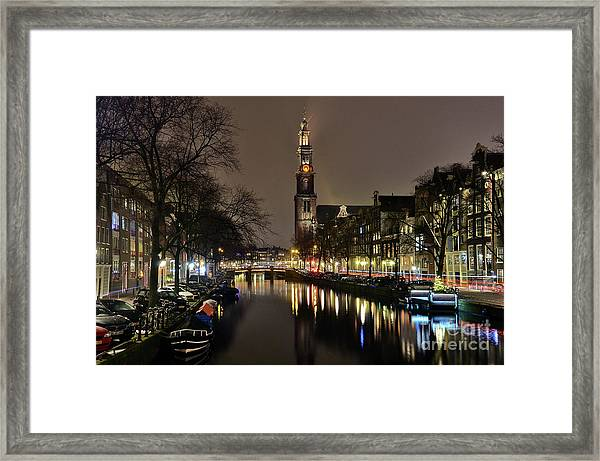 Amsterdam By Night - Prinsengracht Framed Print